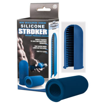 STROKER - szilikon maszturbátor férfiaknak (kék)