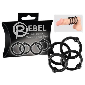 Rebel - szilikon péniszgyűrű szett (fekete)