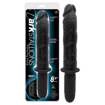 Dark Stallions - dupla-motoros vibrátor markolattal (fekete)