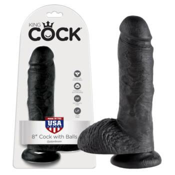 King Cock 8 herés dildó (20,3cm) - fekete
