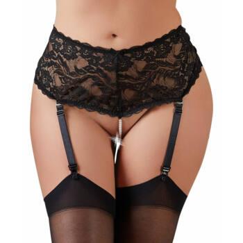 Cottelli Plus Size - harisnyatartós csipke alsó gyöngysorral (fekete)