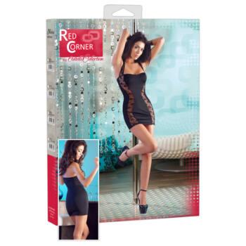 Nyakpántos, fekete ruha, csipkebetéttel - Red Corner