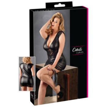 Cottelli Plus Size - fényes-csipke ruha (fekete)