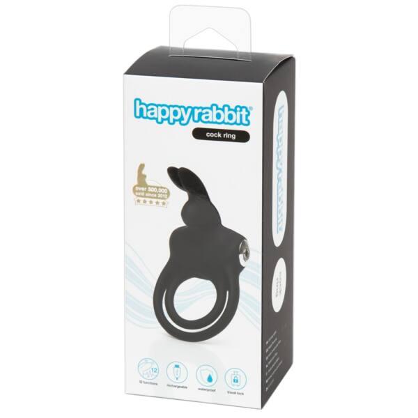Happyrabbit Cock - vízálló, akkus pénisz- és heregyűrű (fekete)