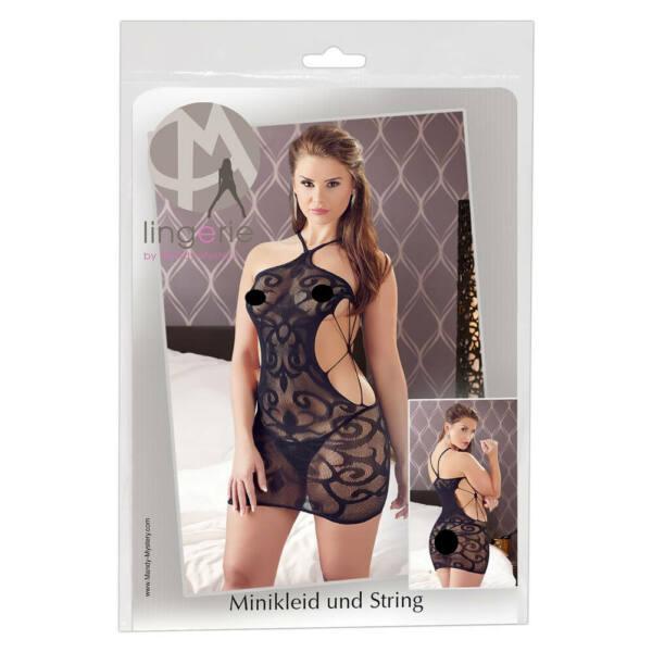 Mandy Mystery - csavart mintás hálós necc ruha tangával (fekete)