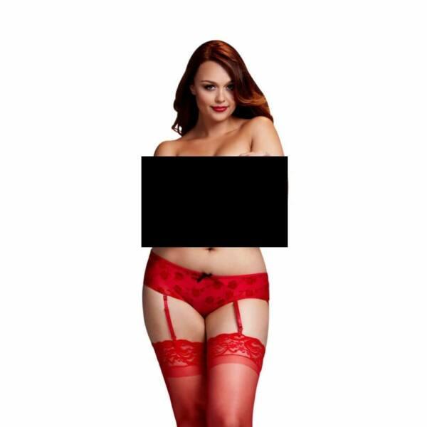 BACI Plus Size - rózsás, nyitott alsó harisnyatartóval (piros)